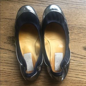Lanvin silver and navy flats